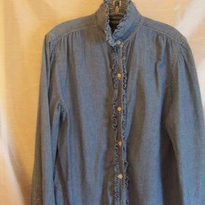 Ralph Lauren Ruffle Blue Denim Blouse